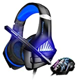BENGOO GM-5 Stereo Gaming Headset for Xbox One, PS4, PC with Mouse, Noise Cancelling Over Ear Headphones with Mic, LED Light, Gaming Mouse Wired with 3200 DPI Adjustable and 6 Programmed Buttons (Color: blue)