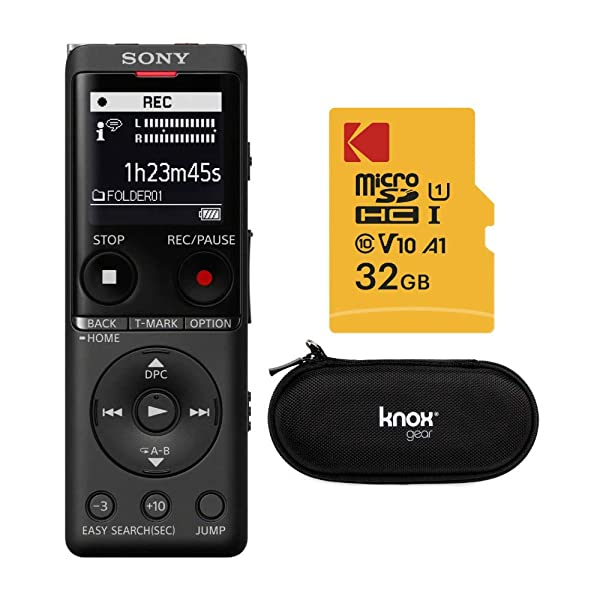 Sony ICDUX570BLK Slim Design Digital Voice Recorder (Black) with Hardshell Case and 32GB Card Bundle (Tamaño: Case + 32GB SD Card Bundle)