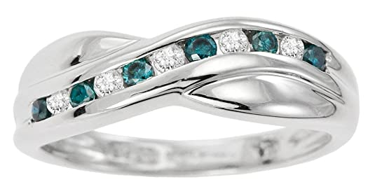 Kareco 9ct White Gold White And Blue 1/4 Carat Diamond Crossover Ring