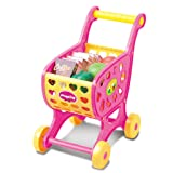 Baoblaze Kids Girls Children Mall Supermarket Shopping Cart Trolley Toy Pretend Play House Kitchen Play Simulation Food Set Christmas Gift (Tamaño: as described)