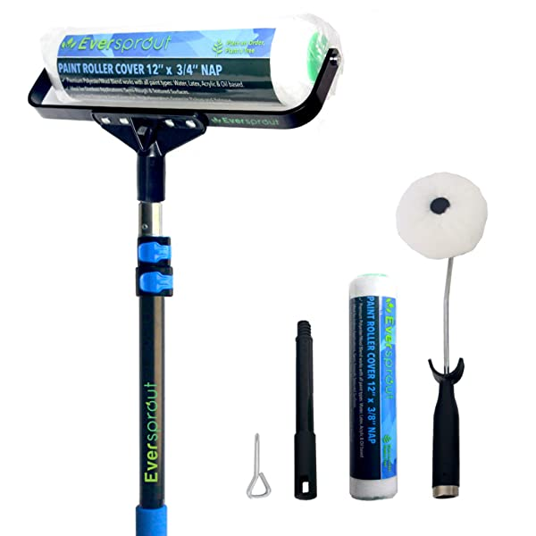 EVERSPROUT 1.5-to-3.5 Foot Paint Roller Kit (8-10 Ft Standing Reach) | Extra Wide 12-inch Roller Frame, Corner Roller Brush, Extension Pole, 2x Poly-Wool Roller Covers Indoor/Outdoor | All Paint Types
