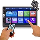 Car Rear View Camera + Ewalite 7 inches Double Din Touchscreen in Dash Stereo Car Receiver Audio Video Player Bluetooth FM Radio Mp3 MP5 / TF/USB / AUX/Steering Wheel Controls + Remote Control (Color: White)