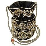 Bagathon India Elegant Jari Work Women Potli [Black] TFB02