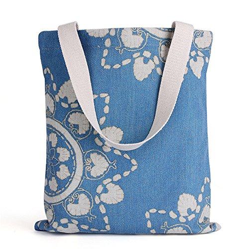 Wewod Fashion shopping bag semplice stampa borsa a mano, Cotone lino, D, 30cmx35cm
