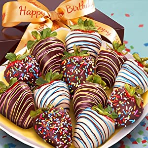 12 Happy Birthday Chocolate Covered Strawberries