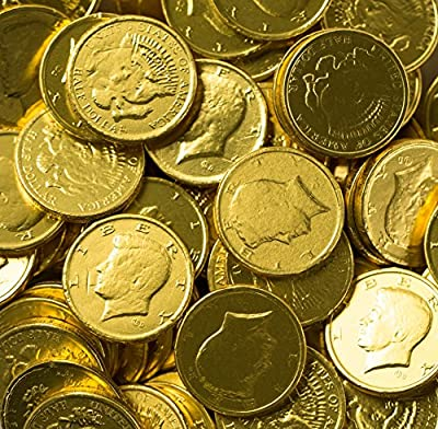 Solid Milk Chocolate Large Kennedy Gold Coins (1/2 Pound - 8 Oz) from Rm Palmer