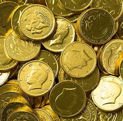 Solid Milk Chocolate Large Kennedy Gold Coins (1/2 Pound - 8 Oz) (Coin Chocolate compare prices)
