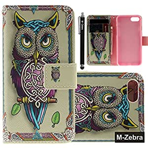 iPhone 7 Case, iPhone 7 Wallet Case, M-Zebra iPhone 7 Wallet Case [Wallet Function] Flip Cover Leather Case for Apple iPhone 7 (2016), with Screen Protectors+Stylus (Owl)