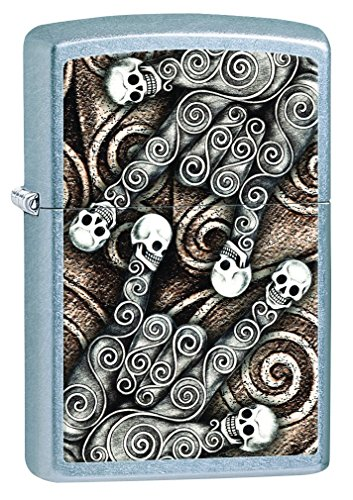 Zippo Skull Scroll Hands Pocket Lighter, Street Chrome