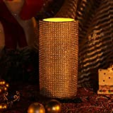 Home-Impressions-lattice-Pattern-Flameless-LED-Pillar-Candle-with-Timer-3-x-6-Gold
