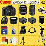 Canon EOS Rebel T2i SLR Digital Camera Kit with Canon 18-55mm Is Lens + Canon 55-250mm Is Lens + Huge Accessories Package Including Wide Angle Macro Lens + 2x Telephoto + 3 Pc Filter KIT + 2x Extended Life Batteries + Hdmi Cable + 32gb Sdhc Memory Card + Soft Carrying Case + Tripod & Much More !!