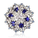 14K White Gold Overlay Sapphire Blue Crystals Snowflake Brooch Pendant - Swarovski Elements Crystals - Gift For Her