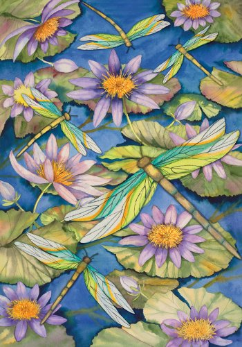 Toland Home Garden Waterlilies And Dragonflies House Flag
