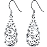 925 Sterling Silver Earrings, BoRuo Filigree Teardrop Earrings