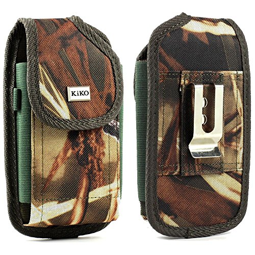 Apple iPhone 6 47 inch - Evo 4G LTE Camouflage Hunter Camo Design Premium Vinyl Leather Carrying Holster Belt Clip Loop Pouch Case Cover Fits Otterbox Defender Series and Lifeproof Cover on