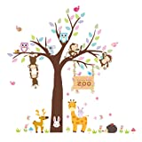 ElecMotive Forest Animal Giraffe Monkey Owls Hedgehog Rabbit Tree Nursery Wall Stickers Wall Murals DIY Posters Vinyl Removable Art Wall Decals for Kids Girls Room Decoration (Zoo) (Color: Zoo)