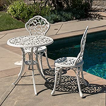 Belleze Outdoor Patio Furniture Leaf Design Bistro Set in Antique White