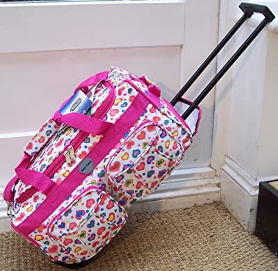 Travel Holdall small bag CABIN APPROVED Carry On Wheels White Pink hearts trolley hand Luggage Girls