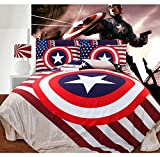 Hughapy® Super Hero Captain America Coral Velvet Thickening Bedsheet Style Bedding Sets, Full