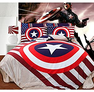 ... Captain America Coral Velvet Thickening Bedsheet Style Bedding Sets