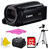 Canon VIXIA HF R700 Full HD Black Camcorder Deluxe Bundle - Black with 32GB SDHC High Speed Memory Card (Color: Black)