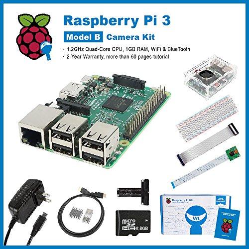 SainSmart Raspberry Pi 3 Camera Starter Kit, [Ultimate] Editon, Camera, Case, SD Card, Breadboard, HDMI, GPIO, Heatsink, USB Power Supply (UL Listed) (Arduino Raspberry Pie compare prices)