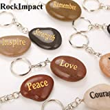 RockImpact Set of 12, Engraved Inspirational Stones Natural River Rock Keychain Rings, Wholesale Faith Stones, Novelty Healing Stone Key Chain Bulk Lot, Assorted Sayings (12 Different Words) (Color: 12pcs, Tamaño: 12)