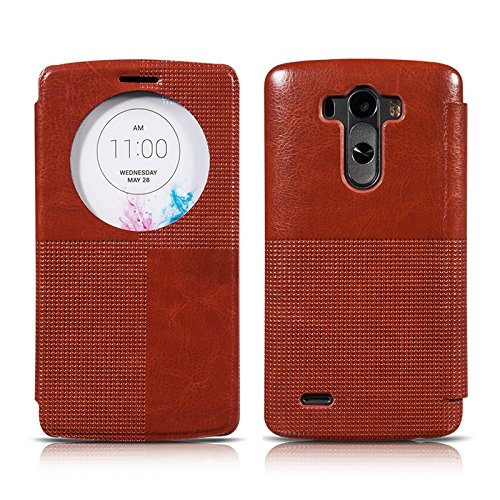 Ivapo Vintage Luxury Intelligent Window Feature Classic Cover Case For Lg G3 (Mm441) (Brown)