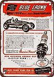 1951 Blue Crown Spark Plugs Vintage Look Reproduction Metal Sign
