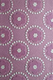 Kids RUG Pink Petals ***Exact Size 4 Feet By 6 Feet*** Hand Tufted