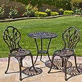 Best Choice Products Outdoor Patio Furniture Tulip Design Cast Aluminum Bistro Set in Antique Copper