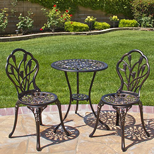 Best Choice Products Outdoor Patio Furniture Tulip Design Cast Aluminum Bistro Set in Antique Copper 0