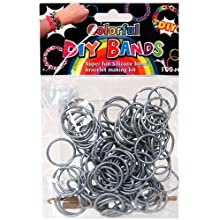 [Best price] Arts & Crafts - DIY Bands - 100 Count Silver Refill bands with Clips and Loom tool - toys-games