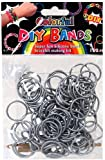Loom Bands Colorful Silicone Metallic Silver Colour 100 Pieces with Clips & Loom Tool