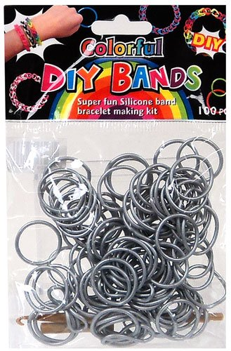 DIY Bands - 100 Count Silver Refill bands with Clips and Loom tool