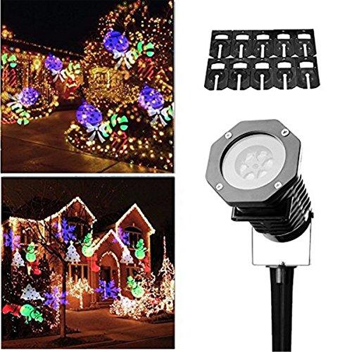LED Proiettore Luci Natale,Drillpro 10 Proiettore di Illuminazione IP65 Impermeabile Fiocco di neve Paesaggio Spotlight Mostrano LED Lampada Proiettore Natale Luce per Natale/Festa/Patio/Giardino/Compleanno/Matrimonio/ Vacanza[Multicolore]