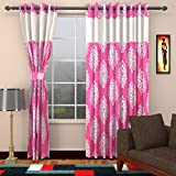 Ajay Furnishings 3 Piece Polyester Paisley Window Curtain - 5 ft, Pink