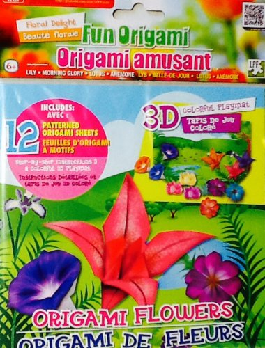 Fun Origami Set ~ Flowers with 3D Colorful Playmat