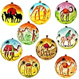 Set of 9 Camel Dessert Paper Mache Diwali Ornaments Handmade in Kashmir India