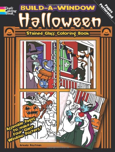 Build a Window Stained Glass Coloring Book-Halloween (Build Window Stained Glass Coloring Book) (English and English Edition)