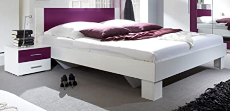 Dreams4Home Doppelbett 'Fiete' - Ehebett, Bett 180 x 200 cm, Bett 160 x 200 cm, Jugendbett, Schlafzimmer, Gästezimmer, Jugendzimmer, ohne Matratzen,ohne Lattenrost, in weiß / lila, Größe:160 x 200 cm