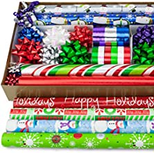 57 Piece Holiday Gift Wrapping Set 8 Rolls of Fun Modern Wrapping Paper with Matching Bows Ribbon Gi
