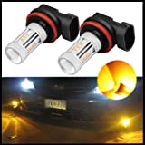 H8 H11 Fog Lights Bulbs Replacement 2PCS, LED ROCCS Pair Super Bright Fog Light bulbs Lamps Replace for DRL Daytime Running Lamps Gold Amber fog lights h11 yellow led Chip Bulb (Pack of Two) (Color: H11-Y)