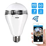 Eroboo Wifi Light Bulb Camera Night Vision VR Panoramic Bulb Camera with 360° Degree Fisheye Lens