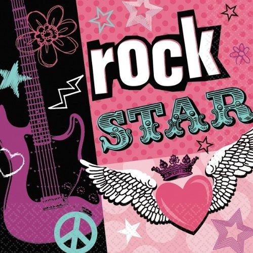 16 Servietten Rockstar / pink-türkis