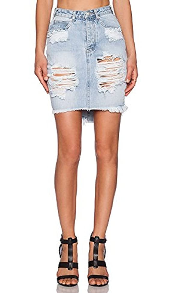 Women's One Teaspoon Wilde 2020 Distressed Denim Pencil Skirt