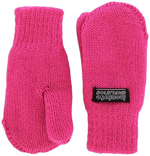 Infant baby Toddler Knitted Fleece Lined Mittens (Small (4-12 Months), Fuschia (Hot Pink))