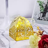 YOZATIA 50pcs Rose Laser Cut Wedding Party Favor Boxes,Candy Boxes Chocolate Gift Boxes, Bridal Birthday Shower Bomboniere with Ribbons (Gold) (Color: Gold)
