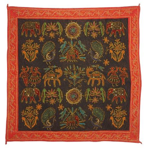 Imagen 2 de Zari bordado y lentejuelas trabajadas pared tradicional de algodón indio colgante-Mesa-Tapestry Tamaño banda 36 x 36 pulgadas