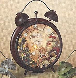 Deluxe Metal Christmas Holiday Clock Old